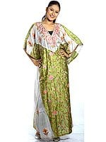 Olive-Green and Ivory V-Neck Kaftan with Crewel Embroidery All-Over
