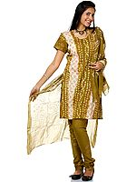 Olive-Green Bandhani Salwar Kameez Suit with Painted Bootis