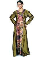 Olive-Green Batik Kaftan from Kashmir