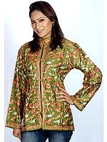 Olive-Green Jacket with Crewel Embroidery All-Over