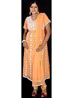 Orange Anarkali Suit with Iridescent Sequins
