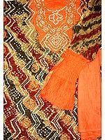 Orange and Beige Bandhani Tie and Dye Suit with Beadwork and Sequins