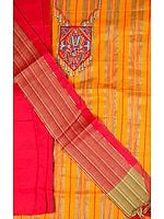 Orange and Red South-Cotton Suit with Embroidery on Neck