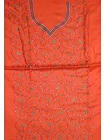 Orange Hand-Embroidered Two-Piece Suit from Kashmir
