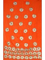 Orange Salwar Suit with Embroidered Flower and Beads