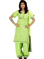 Pear-Green Salwar Kameez from with All Over Sequins and Thread Weave