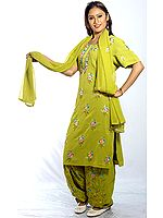 Pear-Green Salwar Kameez Suit with Ari-Embroidered Flowers All-Over