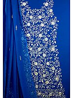 Persian Blue Salwar Suit with White Floral Embroidery