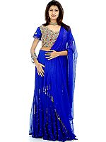 Persian-Blue Lehenga Choli with Multi-Color Beads and Sequins