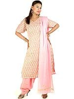 Pink Salwar Kameez with All-Over Lukhnavi Chikan Embroidery