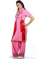 Pink Salwar Kameez with Embroidered Bootis
