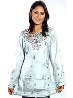 Powder-Blue Kashmiri Kurti Top with Beadwork and Embroidery
