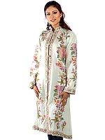 Powder-Green Long Kashmiri Jacket with All-Over Flowers and Sequins