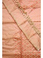 Powder-Pink Kora Banarasi Salwar Suit with All-Over Weave