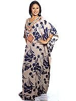 Printed Kaftan with Elegant Beadwork on Front