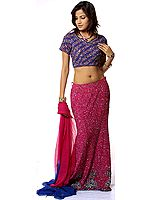 Purple and Royal-Blue Bridal Lehenga Choli with Heavy Multi-Color Sequins