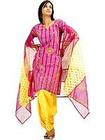 Purple and Yellow Suit with Threadwork and Sequins