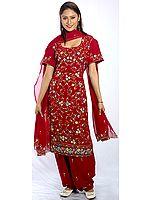 Purple Phulkari Salwar Kameez Suit with Ari-Embroidered Flowers All-Over