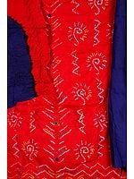 Red and Blue Bandhani Tie-Dye Suit from Gujarat