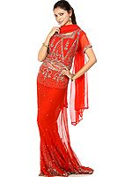 Red Bridal Lehenga Choli with Beadwork and Sequins
