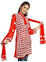 Red Chikan Embroidered Top with Stole