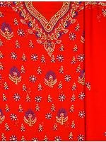 Red Chikan Hand-Embroidered Salwar Kameez Fabric from Lucknow