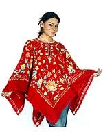 Red Floral Poncho with Ari Embroidery All-Over