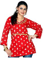 Red Kurti Top with Brass Beads