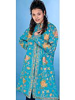 Robin Egg Long Kashmiri Jacket with Large Flowers