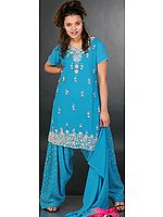 Robin Egg Patiala Salwar Kameez with Beadwork