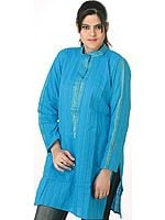 Robin's Egg Turquoise Kurti Top with Vertical Stripes