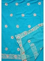 Robin-Egg Blue Salwar Suit with Persian Floral Embroidery