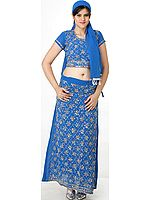 Royal Blue Lehenga Choli with Beadwork and Sequins
