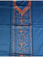 Royal-Blue Two-Piece Suit from Kashmir with Needle-Stitch Embroidery