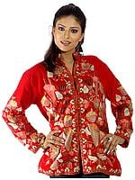 Ruby Ari Jacket from Kashmiri with Floral Embroidery