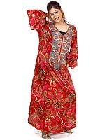 Ruby Printed Kaftan with Beadwork on Neck