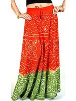 Rust and Green Bandhani Skirt with Large Sequins