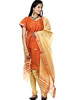 Rust and Beige Chanderi Suit with Bootis Woven in Golden Thread