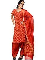 Rust Block-Printed Chanderi Salwar Kameez Suit