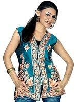 Sea-Green Waistcoat with Ari Embroidered Chinar Leaves