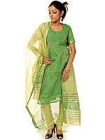 Green Tissue Chanderi Choodidaar Suit with Golden Bootis