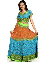 Tri-color Two-Piece Ghagra Choli from Kutch with All-Over Beadwork and Sequins