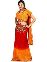Burnt-Orange and Red Lehenga Choli with Beadwork and Sequins