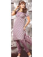 Mauve Salwar Kameez Suit with Self Weave and Printed Bootis
