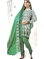Cream Choodidaar Suit with Self Weave and Printed Paisleys in Black and Green