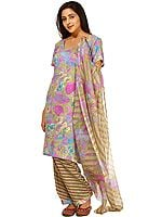 Multi-Color Salwar Kameez Suit with Printed Flowers