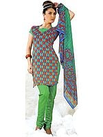 Tri-Color Choodidaar Printed Suit with Self Weave