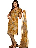 Mustard Salwar Kameez Suit with Printed Flowers