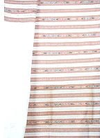White and Brown Salwar Kameez Fabric with Ikat Weave