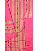 Fuchsia and Olive Salwar Kameez Fabric with Ikat Weave